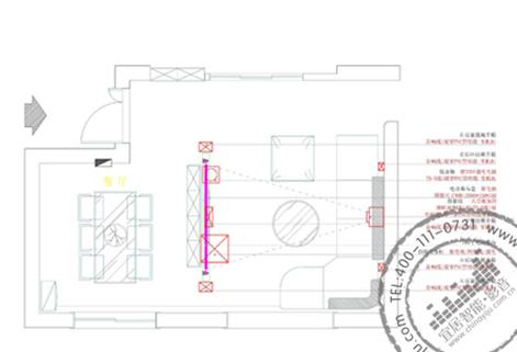 客厅家庭影院配置平面图